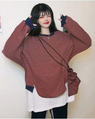 韓版橫間假兩件鬆身圓領衛衣 -4055A #特價優惠6折:HK$120 #