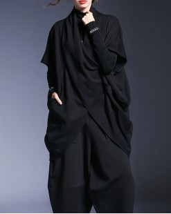 鬆身雙口袋不規則寬領淨色衛衣 - 4057A #精選貨品7折優惠價:HK$119 #