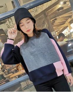 【新品】不規則拼色棉質圓領短衛衣 -4061A #全店新品4件起75折優惠碼 : -25OFF (HK$150) #