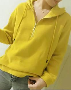 【新品】 淨色半拉鏈不對稱抽繩連帽衛衣 - 4066A #全店新品4件起75折優惠碼:-25OFF (HK$150) #