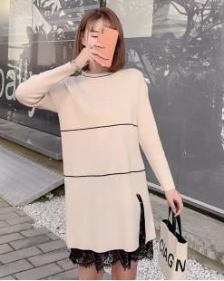 圓領配色蕾絲接駁針織連身裙- 4074A #全店新品4件起75折:HK$135 #