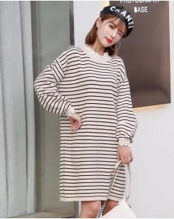 蕾絲接駁領橫間連身裙 - 4075A #精選貨品7折優惠價:HK$126 #
