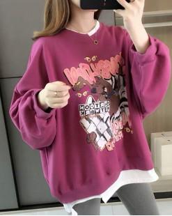 【新品】韓版塗鴉風假兩件鬆身衛衣 - 4076A #全店新品4件起75折:HK$120 #