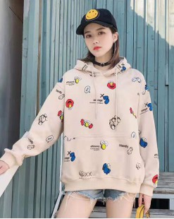 【新品】圖案印花大口袋抽繩連帽衛衣 -4084A #全店新品4件起75折優惠碼 : -25OFF (HK$135) #