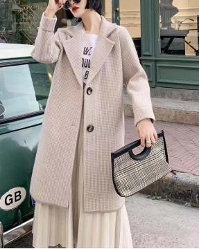 【新品】千鳥格翻領紐扣大衣外套 - 4089A #全店新品4件起75折:HK$319 #