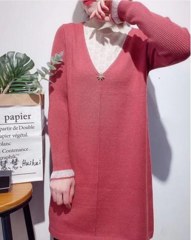 假兩件荷葉領蕾絲袖連身裙 - 4099A #精選貨品7折優惠價:HK$140 #