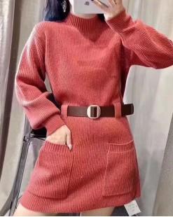 【新品】小高領雙口袋淨色針織連身裙(附腰帶) - 4100A #全店新品4件起75折:HK$150#