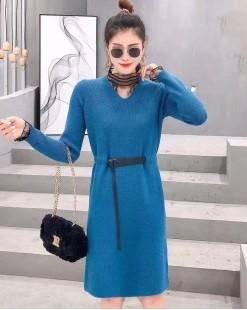 【新品】蕾絲接駁V領淨色修身連身裙(附腰帶) - 4101A #全店新品4件起75折:HK$180#