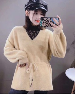【新品】蕾絲領柔軟束腰毛呢上衣-4102A#全店新品4件起75折:HK$180 #