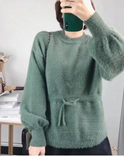 【新品】慵懶淨色澎澎袖束腰冷衫 - 4106A #全店新品4件起75折:HK$173#