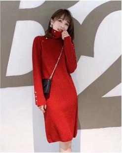 【新品】鈕扣針織高領連身裙- 4112A #全店新品4件起75折:HK$150#