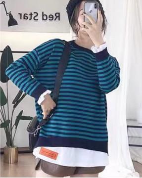 【新品】韓版橫間假兩件鬆身衛衣 - 4115A #全店新品4件起75折:HK$150 #