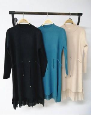 網紗接駁下擺可束腰修身連身裙 - 4118A #精選貨品7折優惠價:HK$161#