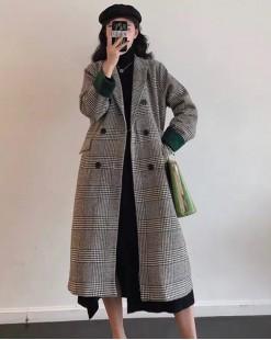 千鳥格翻領紐扣大衣外套 - 4125A #精選貨品7折優惠價:HK$182 #
