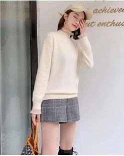 柔軟淨色保暖木耳領冷衫(帶胸針) - 4129A #精選貨品7折優惠價:HK$98 #