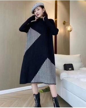 百褶抽繩收腰淨色圓領連身裙 - 4131A #精選貨品7折優惠價:HK$140 #
