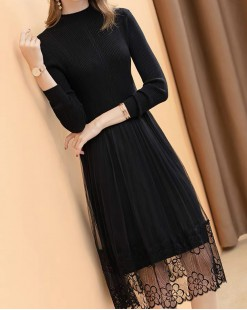 淨色修身束腰蕾絲圓領連身裙 - 4137A #精選貨品7折優惠價:HK$140 #
