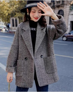 【新品】翻領大口袋單扣毛織大衣外套- 4143A #全店新品4件起75折:HK$319 #