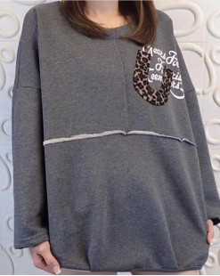 【新品】豹紋字母鬆身圓領T - 4156A #全店新品4件起75折優惠碼: -25OFF (HK$135) #