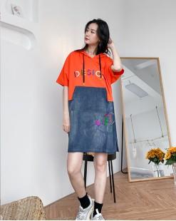 【新品】春裝新款拼色鬆身刺繡字母連身裙 - 4320A #全店新品4件起75折優惠碼 : -25OFF (HK$135 )