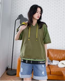 【新品】春裝新款簡約線條袖接駁字母邊棉質上衣 - 4322A #全店新品4件起75折優惠碼 : -25OFF (HK$113 )