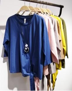 【新品】春裝新款兩側束繩短身綿質上衣 - 4343A #全店新品4件起75折優惠碼 : -25OFF (HK$90 )