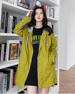 【新品】春裝新款時尚淨色側口袋連帽外套 -4345C #全店新品4件起75折優惠碼:-25OFF (HK$180) 韓國直送 #