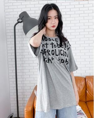 英文字印花短袖純棉T - 4373A#精選貨品6折優惠價:HK$108 #