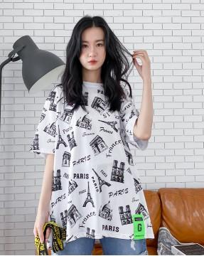 【新品】春裝新款巴黎鐵塔圖案棉質T - 4377A #全店新品4件起75折優惠碼 : -25OFF (HK$150 )