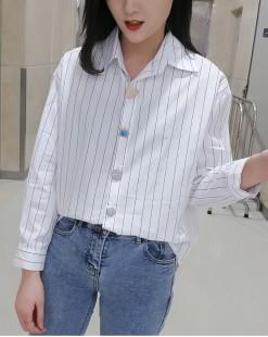 韓國直送CHOCOLATE 春裝新款簡約條紋鬆身恤衫 - 4382C #全店新品4件起75折優惠碼 : -25OFF (HK$128) #