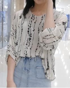 韓國直送CHOCOLATE 春裝新款小碎花雪紡上衣恤衫- 4387C #全店新品4件起75折優惠碼: -25OFF (HK$128) #