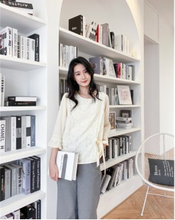 韓國直送CHOCOLATE 哩士拼接雪紡綁帶恤衫- 4393C #全店新品4件起75折優惠碼 : -25OFF (HK$128) #