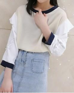 韓國直送EUIHYUN 毛毛邊通花拼色雪紡恤衫- 4398C #全店新品4件起75折優惠碼: -25OFF (HK$128) #