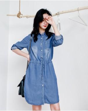 【新品】春裝新款開衩束腰鈕釦牛仔恤衫- 4448A #全店新品4件起75折優惠碼 : -25OFF (HK$150 )