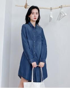 簡約鬆身側口袋牛仔恤衫 - 4449A #全店新品4件起75折優惠碼 : -25OFF (HK$173 )