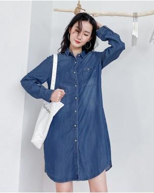 【新品】春裝新款簡約鬆身側口袋牛仔恤衫 - 4449A #全店新品4件起75折優惠碼 : -25OFF (HK$173 )