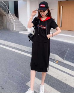 【新品】印圖短袖有帽純棉連身裙 - 4464A #全店新品4件起75折優惠碼 : -25OFF (HK$150)