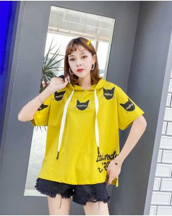 【新品】短袖印花帶帽純棉T - 4487A #全店新品4件起75折優惠碼 : -25OFF (HK$113 )