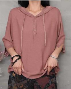【新品】中袖帶帽純色針織衫 - 4530 #全店新品4件起75折優惠碼 : -25OFF (HK$105 )