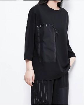 【新品】大口袋中袖純棉短T - 4542A #全店新品4件起75折優惠碼 : -25OFF (HK$105)