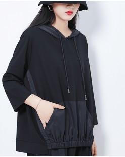 【新品】大口袋有帽純棉短T - 4544A #全店新品4件起75折優惠碼 : -25OFF (HK$120)