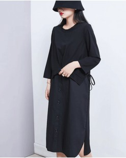 【新品】純色假兩件連身裙- 4545A #全店新品4件起75折優惠碼 : -25OFF (HK$143) #