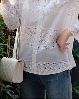 【新品】荷葉領純色提花洗水襯衣 - 4550A #全店新品4件起75折優惠碼 : -25OFF (HK$105)