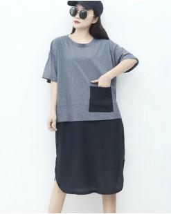 【新品】假兩件短袖連身裙 - 4555A #全店新品4件起75折優惠碼 : -25OFF (HK$105)
