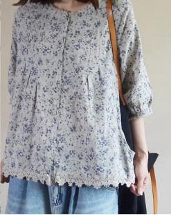 【新品】碎花麻料中袖襯衣 - 4569A #全店新品4件起75折優惠碼 : -25OFF (HK$150)