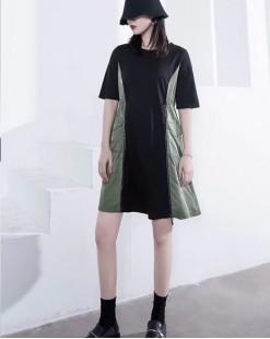 【新品】滑料拼接純色純棉短袖連身裙 - 4583A #全店新品4件起75折優惠碼 : -25OFF (HK$180)