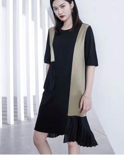 【新品】梭織雪紡拼純棉短袖連身裙 - 4584A #全店新品4件起75折優惠碼 : -25OFF (HK$180)