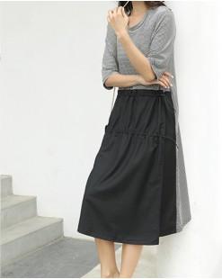 【新品】橫間拼襯衣料連身裙- 4585A #全店新品4件起75折優惠碼 : -25OFF (HK$180) #