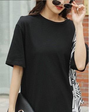【新品】雪紡布拼純色短袖連身裙 - 4586A #全店新品4件起75折優惠碼 : -25OFF (HK$180)