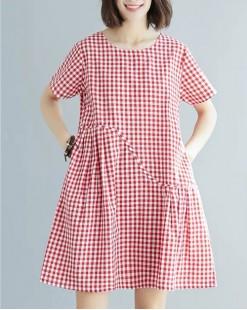 【新品】棉麻格仔布短袖連衣裙 - 4701A #全店新品4件起75折優惠碼 : -25OFF (HK$120)